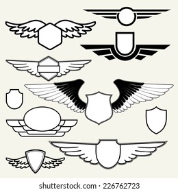 Retro Vintage Insignias or Logotypes with wings.  Vector design elements, business signs, logos, identity, labels, badges and objects.
