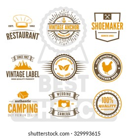 Retro Vintage Insignias set, vector design elements, business signs, logos, identity, labels, badges, apparel, shirts, ribbons, stickers and other branding objects.