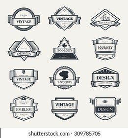 Retro Vintage label outline emblem or Logo set. Vector design elements template.