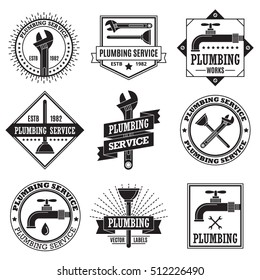Retro vintage logo, labels for plumbing service, typography design elements, emblems, symbols, icons, badges collection. Business signs, objects, branding identity templates.