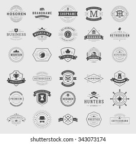 Retro Vintage Logotypes or insignias set. Vector design elements, business signs, logos, identity, labels, badges, apparel, shirts, ribbons, stickers and other branding objects.