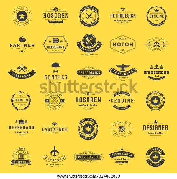 Retro Vintage Logotypes Insignias Set Vector Stock Vector