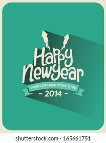 Retro Vintage Long Shadow Happy New Year Greeting Card with Typography