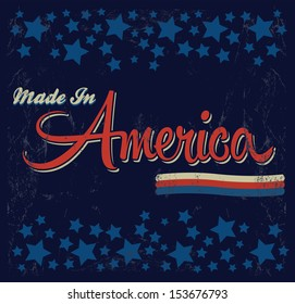 Retro - Vintage Made in America Sign - Vector - Grunge effects can be easily removed.
