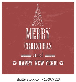 Retro Vintage Merry Christmas Background with Grunge Effect