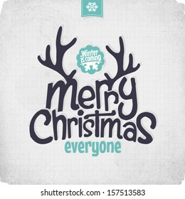 Retro Vintage Merry Christmas Greeting Card with Typography