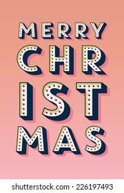 Retro Vintage Merry Christmas Greeting Card