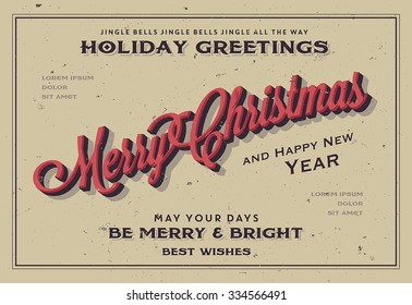 Retro Vintage Merry Christmas and Happy New Year Background for Greeting Card, Poster, Label and Other Decoration Surface with Typographic Elements