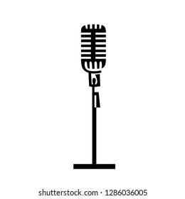 Retro, vintage microphone silhouette vector illustration for design. Mic icon black figures clipart for web and mobile, modern minimalistic design isolated on white background.