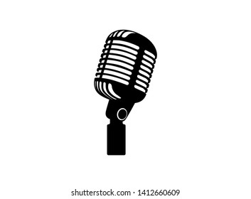 Retro vintage microphone vector on white background. Mic silhouette. Music, voice, record icon. Recording studio symbol. Flat stye vector illustration