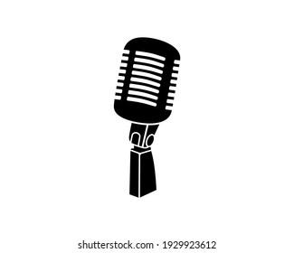 Retro vintage microphone vector on white background. Mic silhouette. Music or voice recording icon. Recording studio symbol. Flat stye vector illustration