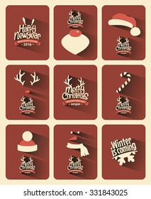 Retro Vintage Minimal Long Shadow Merry Christmas Background Collection with Typography