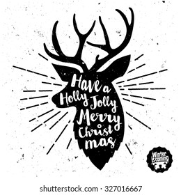 Retro Vintage Minimal Merry Christmas Background with Hand Drawn Typography