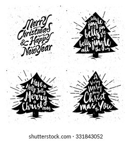Retro Vintage Minimal Merry Christmas Background Collection with Hand Drawn Typography