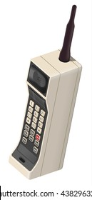 Retro vintage mobile cellphone from 80s  / phone / vector illustration / highly detailed / poster for print / perspective view