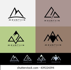 Retro Vintage Mountain Logo with blurred background. Creative Mountain Linear Logo Design.