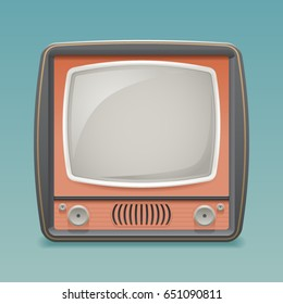 Retro Vintage Old TV Placeholder Frame Icon Realistic Flat Design Template Vector Illustration