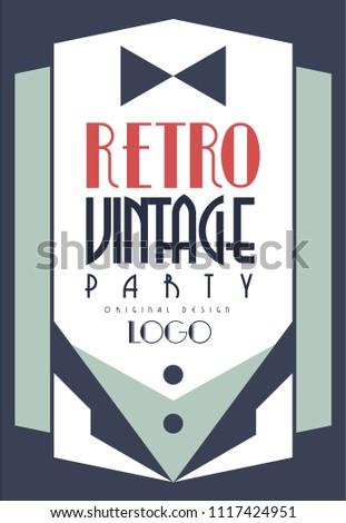 Retro Vintage Party Logo Original Design Stock Vector Royalty Free