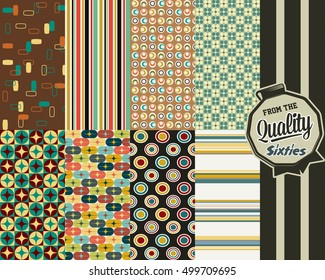 Retro Vintage Patterns Wallpapers Set from the Sixties