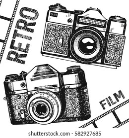 Retro vintage photo camera film. Hand drawing manual camera.