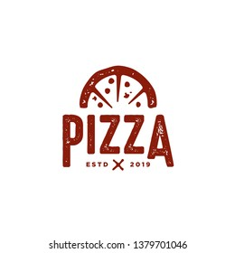 retro vintage pizza logo and typography template