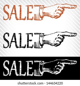 retro Vintage pointing hand drawing - vector illustration