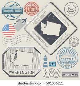 Retro vintage postage stamps set Washington, United States theme, vector illustration
