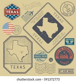 Retro vintage postage stamps set Texas, United States theme, vector illustration