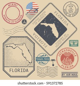 Retro vintage postage stamps set Florida, United States theme, vector illustration