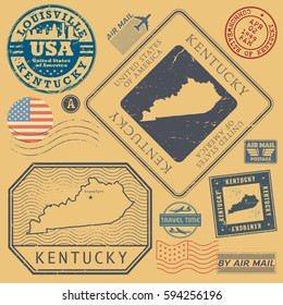 Retro vintage postage stamps set Kentucky, United States theme, vector illustration