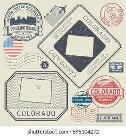 Retro vintage postage stamps set Colorado, United States theme, vector illustration
