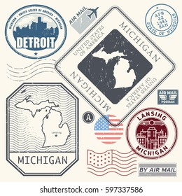 Retro vintage postage stamps set Michigan, United States theme, vector illustration