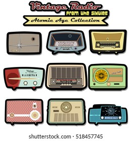Retro Vintage Radio Set Populuxe Collection Atomic Age Middle Century Design Old Turntable from the Fifties, Sixties