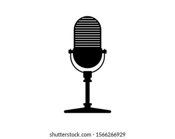 Retro vintage radio stand microphone. Mic silhouette. Music, voice, podcast record icon. Recording studio symbol. Vector illustration on white background