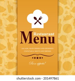 Retro vintage restaurant menu template with food icons background vector illustration