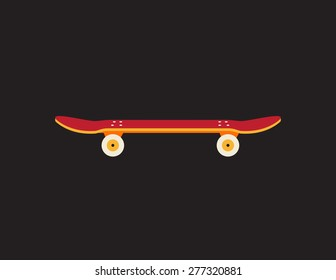 Retro vintage skateboard icon isolated on dark background