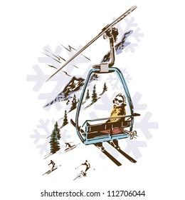 Retro Vintage Ski Lift Skiing Sports Vector