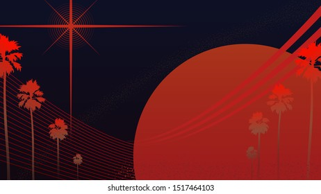 Retro vintage Space Odyssey vibe with tropical palm trees in black and orange color theme, simple nostalgia feelings