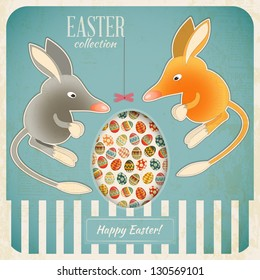Retro Vintage square Card with Easter Australian Bilby and Egg. Vector Illustration.