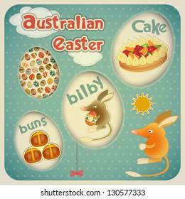 Retro Vintage square Easter Australian Card. Vector Illustration.