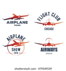in retro and vintage style. badge design of passenger aircraft signs for posters and t-shirt design