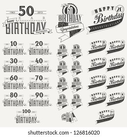 Retro Vintage style Birthday greeting card collection in calligraphic design. Vintage calligraphic and typographic style Happy Birthday hand lettering collection. Vector