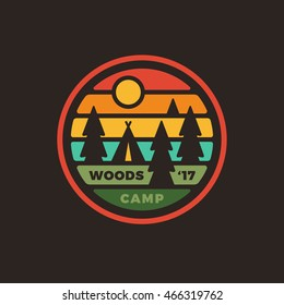 Retro vintage style camping woods badge logo graphic