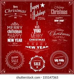 Retro Vintage style design of Christmas and Happy New Year labels and decoration, Vector calligraphic and typographic collection