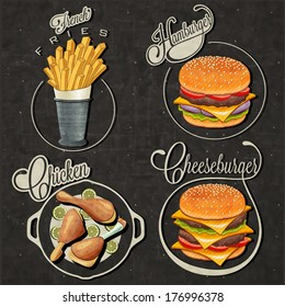 Retro vintage style fast food designs. Set of Calligraphic titles and symbols for foods. Hand lettering style. French Fries, Hamburger, Cheeseburger and Drumstick realistic illustrations.