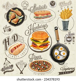 Retro vintage style fast food designs. Set of Calligraphic titles and symbols for foods. Pizza, Sandwich, Hot Dog, French Fries, Hamburger, Cheeseburger and Drumstick realistic illustrations.
