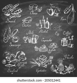Retro vintage style food design. Hand drawn elements for cooking, vegetables, restaurant and vegetarian food. Vector illustration.