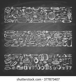 Retro vintage style food design. Hand drawn elements for cooking, vegetables, restaurant and vegetarian food on the blackboard. Vector illustration.