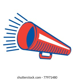 Retro or vintage style megaphone as used in school sports or sporting events.