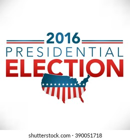 Retro or Vintage Style Red White and Blue Patriotic Vote 16 Presidential Election with Pin Button or Badge.  Use this banner on infographics, blog headers, flyers, or web pages.